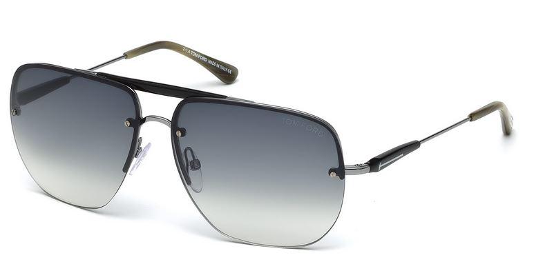 Smoke Gradient Sunglasses New TOM FORD COLETTE TF250-14B Shiny Light Ruthenium